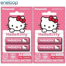4x Panasonic Hello Kitty Eneloop 1900mAh AA Rechargeable Batteries 2100 Cycle LE