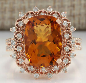 6.39 Carat Natural Citrine 14K Rose Gold Diamond Ring