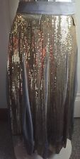SOFT SURROUNDINGS Gray Blue Gypsy Flowing Maxi Skirt Gold Sequins Long Maxi XL