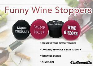 Funny Wine Stoppers 4Pcs Silicone Reusable Corks Flexible Bottle beer cover Caps