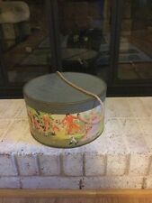 Vintage Round Paper Hat Box with Colonial Scene