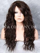 Dark Brown HEAT SAFE Long Spanish Wavy light Weight Wig Layers HDF 4