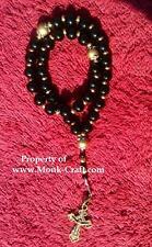 50 bead black onyx & brass Orthodox Cross Prayer Beads rope Chotki Komboskini