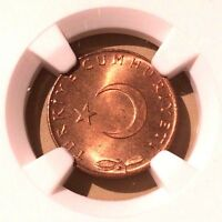 Turkey Five Kurus 1965 NGC MS 65 RD