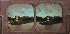 Bois de Boulogne Paris Stéréo Diorama Tissue Vintage Albumine ca1860