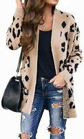 MEROKEETY Women's Open Front Leopard Knit Cardigan Sweaters Pockets Long Sleeve