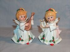 2 Homco Home Interiors Angels w Musical Instruments Figurines Porcelain #5551