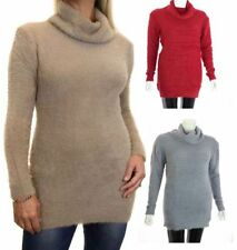 Autumn Polyester Polo Neck Jumpers & Cardigans for Women