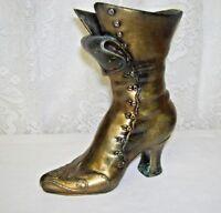 Vintage Brass Cast Iron High Top Shoe Vase