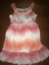 Girls Sweet Heart Rose Ruffle Tank Dress w/ Orange/White/Dark Orange Ombre Sz 5