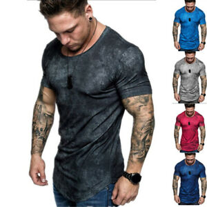 Fashion Men's T-Shirt Casual Crew Neck Short Sleeve Tops Gradient Tee Fitness