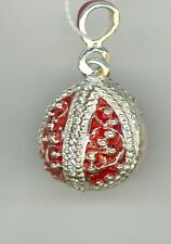 w/silver bands decor w/clear stones Russian Faux Silver Egg Pendant, Red