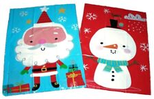 2x LARGE CHRISTMAS DRAWSTRING SANTA SACKS STOCKING TOY BAGS GIFT PRESENT SNOWMAN