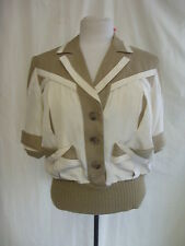 Ladies Top - Gina Tricot, size S, fawn/cream, silk mix, 80's, knitted - 0048