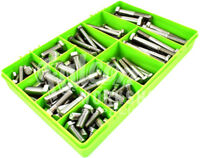 """114 PIECE ASSORTED UNF A2 STAINLESS STEEL IMPERIAL 1/2"""" 3/8"""" 5/16 BOLTS BIKE KIT"""