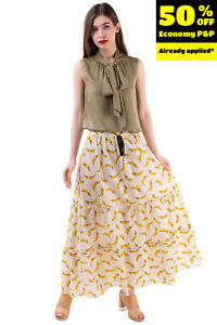 VICOLO Maxi Flare Skirt One Size Banana Print Tiered Elastic Waist Made in Italy