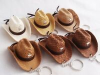 1 SET VINTAGE WEDDING MINI COWBOY HAT KEY RING KEY CHAIN VELVET GIFT SOUVENIR #5