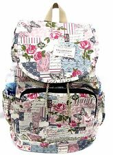 Lady's Large Canvas Backpack Water Bottle Holder Casual Travel -Secret Garden