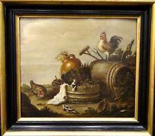 Fine 18th Century English Farm Chicken Hens & Birds Scene Marmaduke CRADOCK