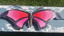 "La Mariposa Butterfly Metal Handmade Painted Wall Art Mexican Pink 24""x10"" 430"