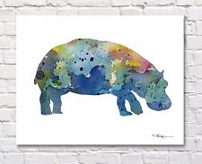 Hippo Abstract Watercolor Painting Art Print by Artist DJ Rogers