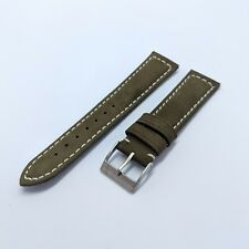 20mm Nubuck Suede Leather 2 Piece Watch Strap - Olive Green