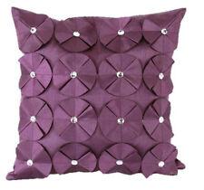 Luxury Faux Silk Diamante Cushion Cover Ruffled Rose 43 x 43cms Lime Blue Plum
