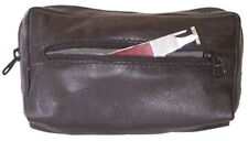 Black Leather Pipe & Tobacco Combination Zipper Tobacco Pouch Lined w/Vinyl 7888