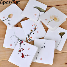 8pcs/set Chinese Style Flower Greeting Cards With Paper Envelope Cards Holiday