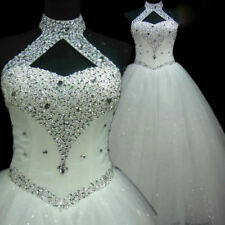 Luxury Sparkly Halter Sequins Crystals Wedding Dresses White Ivory Bridal Gowns