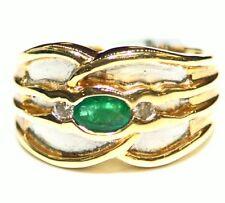 Vintage 14K Solid Gold Natural Emerald Diamond Anniversary Band Ring Estate Deco