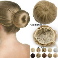 Clearance 100% Real Natural Clip in Messy Hair Bun Extension Chignon Hair Piece