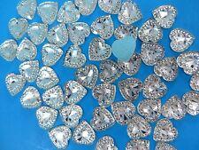 "30p heart flatback clear acrylic rhinestone embellishments appliques 0.6"" x 0.6"""