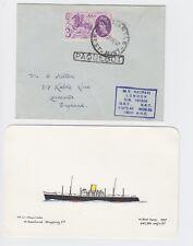 New Zealand Shipping Co M.V Hauraki  PAQUEBOT Cover & Card Freemantle 1953