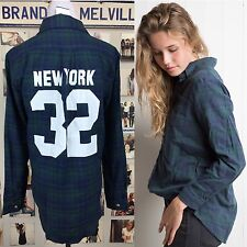 Rare brandy Melville Blue Green New York 32 Graphic plaid wylie Flannel top Nwt