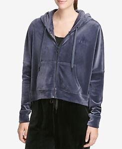 DKNY Sport Women's Velour Cropped Hoodie; Odyssey Blue (Small)