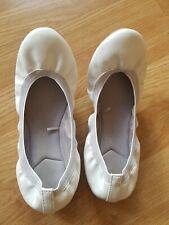 Ladies' Girls White Next Flexi Ballerina Fold-up Flat Shoes Size 5, Hardly Worn