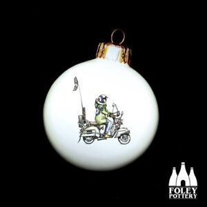 AWOL: Scooter, Vespa, Mod, Fine bone China Christmas Bauble By Foley Pottery