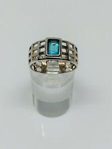 Gorgeous Sparkling Aqua Blue Topaz Stone Band Ring 925 Silver Size O~O1/2 #12853