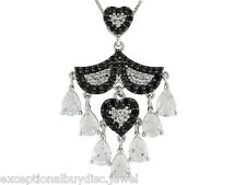BIG HEART BLACK SPINEL DIAMOND TOPAZ ANGEL MOVING WINGS NECKLACE 18 INCH
