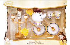 New Disney Store Beauty and the Beast Deluxe Tea Set Singing Lumiere Mrs Potts