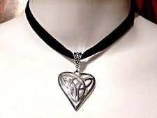 CELTIC KNOT HEART BLACK VELVET CHOKER band necklace Irish Vikings Silver goth 5B