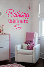 Personalized Name & Child of the One True King Wall Sticker Wall Art Decor