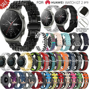For Huawei Watch GT 2 Pro Leather Stainless Steel Nylon Strap Wrist Band