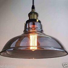 LED Grey Glass Shade Vintage Retro Ceiling Chandelier Pendant Lamp Light Fitting