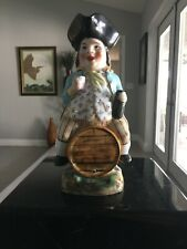 """Vintage Large 10 """" Toby Ceramic Pitcher """" Pirate on a barrel """" Made in England"""