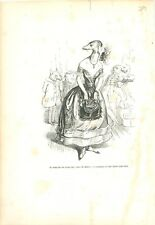 Fouine Actrice Robe de Soirée Bal Gala ANTHROPOMORPHISME 1842 GRAVURE PRINT
