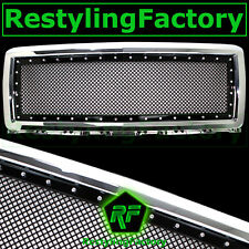 14-15 Chevy Silverado Chrome+Black Replacement Rivet Studded Mesh Grille Shell