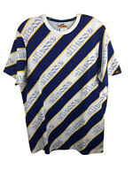 Ellesse Blue White Yellow Striped Repeating Logo T-Shirt NWT - Men's Large