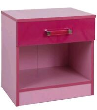 Ottawa two tone high gloss pink bedside table / cabinet. Unbuilt / Flat packed.